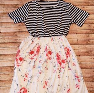 NEW--stripe top/floral bottom dress